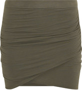 Wrap-front jersey mini skirt