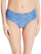 Hawaiian Tropic Women's High Waisted Bikini Bottom Denim Blue