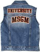 MSGM Cotton Denim Vest W/ Patches