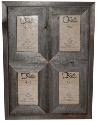 "Rustic Decor Llc Carolina Reclaimed Rustic Barn Wood Collage Photo Frame, 4""x6"""
