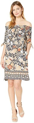 Tribal On Off-Shoulder Dress (Linen) Women's Clothing