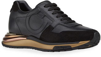 Salvatore Ferragamo Brooklyn Gancio Leather Sneakers