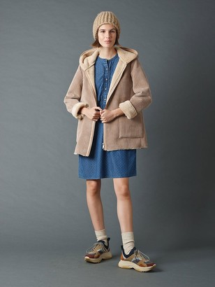 Indi & Cold - Hooded Fur Coat In Beige - XS