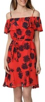 Donna Morgan Women's Belted Print Off The Shoulder Dress