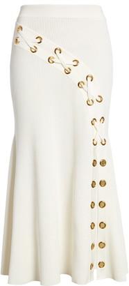 Alexander McQueen Grommet Rib Midi Sweater Skirt