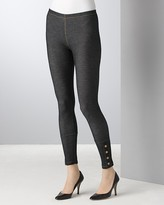 Aqua Denim Leggings With Snaps in Black
