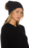 360 Sweater Haven Cashmere Raccoon Fur Pompom Beanie