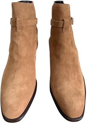 Saint Laurent Wyatt Jodphur Camel Suede Boots