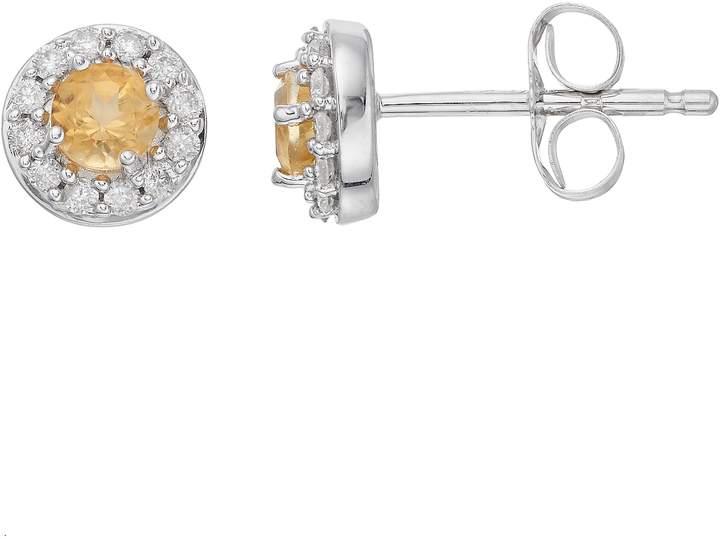 c63b73d340b 10k White Gold Citrine & 1/10 Carat T.W. Diamond Halo Stud Earrings