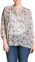 NYDJ 3/4 Sleeve Pleated Back Blouse (Plus Size)