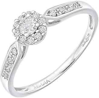 Mogul 9ct White Gold Diamond Halo Engagement Ring, 0.25ct