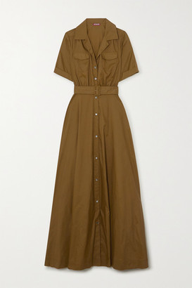 STAUD Millie Belted Shell Maxi Shirt Dress - Army green