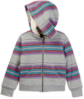 Tea Collection Sarita Zip Front Stripe Faux Shearling Lined Hoodie (Little Girls & Big Girls)