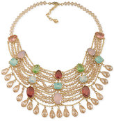 Carolee Gold-Tone Multi-Stone Crystal Multi-Strand Statement Necklace
