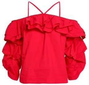 Joie Cold-shoulder Ruffled Cotton-poplin Top