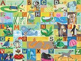 Oopsy Daisy Fine Art For Kids Abc Animal Action Stretched Canvas Wall Art by Jessica Flick, 24 by 18-Inch
