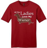 ThisWear Dog Clothes All the Ladies Love My Weiner Dog Dachshund Doxen Young Mens T-Shirt ClRed