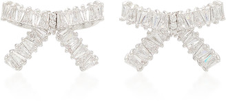 Fallon Rhodium And Crystal Bow Stud Earrings