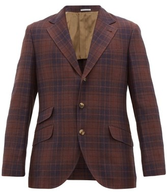 Brunello Cucinelli Checked Single-breasted Tartan Blazer - Red Multi