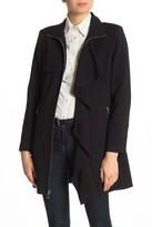 Karl Lagerfeld Paris Ruffle Drape Trench Coat