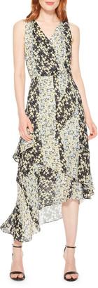 Parker Pippin Sleeveless Floral-Print Ruffle Dress