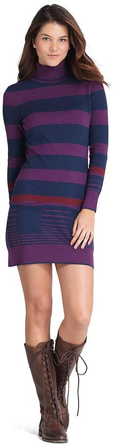 Brooks Brothers Cotton and Wool Stripe Turtleneck Dress