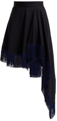 Calvin Klein Fringed Asymmetric Wool Skirt - Womens - Navy