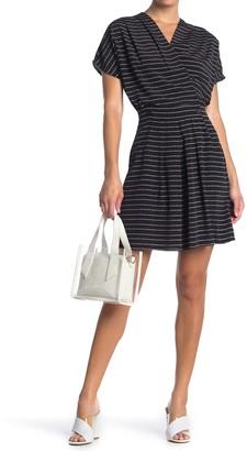 FRNCH Stripe Print Surplice Neck Dress