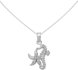 14K White Gold Solid Seahorse and Starfish Pendant with 18-inch Cable Rope Chain by Versil