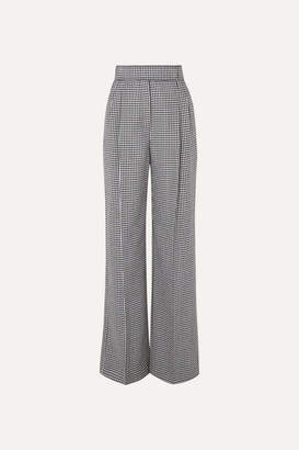 Alexander McQueen Houndstooth Wool Wide-leg Pants - Black