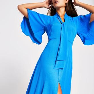River Island Womens Blue pussybow waisted midi dress