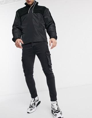 Brave Soul utility pocket jeans in black