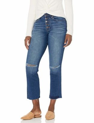 True Religion Women's Tall Size Starr Mid Rise Exposed Fly Cut Hem Cropped Straight Jean