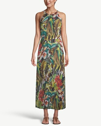 Chico's Tropical-Print Pleated Maxi Dress