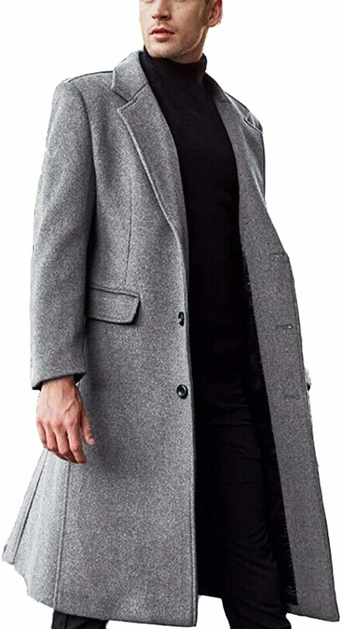 RUIYUNS Mens Warm Wool French Front Slim Fit Long Business Coat Trench Peacoat Parka