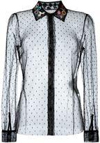 RED Valentino embroidered collar tulle shirt - women - Silk/Polyamide - 42