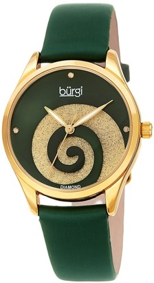 Burgi Ladies Diamond Swarovski Crystal Swirl Green Satin Strap Watch