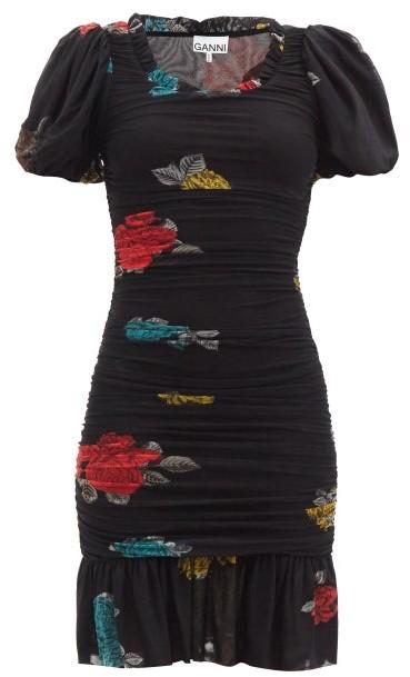 Ganni Ruched Floral-print Mesh-jersey Mini Dress - Black Multi