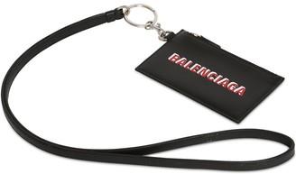 Balenciaga Logo Print Leather Zip Card Holder