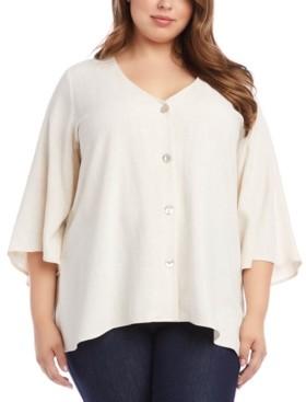Karen Kane Plus Size Button-Down Asymmetrical-Hem Top