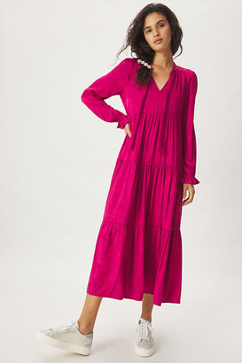 Maeve Cassie Tiered Maxi Dress By in Pink Size XS