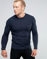 Farah Sweater With Honeycomb Texture In Slim Fit Navy