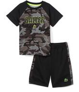 Rbx RBX Boys' Active Shorts GREY - Gray Camo 'Baller' Raglan Tee & Black Active Shorts - Toddler & Boys