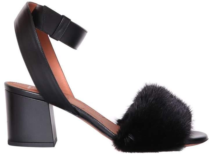 Givenchy Mink Trimmed Leather Sandals