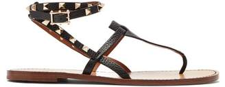 Valentino Rockstud Double-strap Leather Sandals - Womens - Black