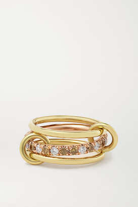 Spinelli Kilcollin Sonny Set Of Three 18-karat Yellow And Rose Gold And Diamond Rings