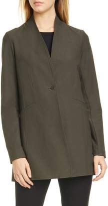 Eileen Fisher Washable Stretch Crepe Stand Collar Jacket