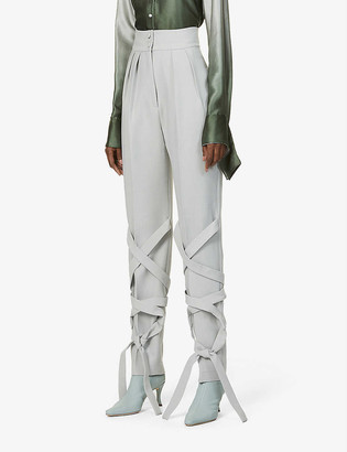 MATÉRIEL High-rise woven-pattern wool-blend trousers