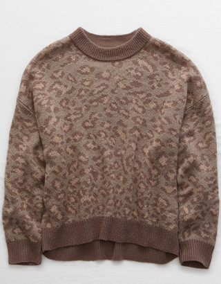 aerie Leopard Crew Pullover Sweater