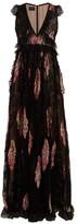 Giambattista Valli Floral-print Lace-trimmed Silk Gown - Womens - Black Multi